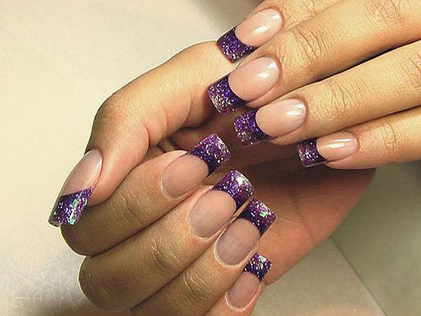 Ногти нарощенные френч фиолетовый